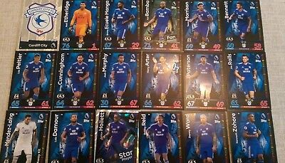 Match Attax 2018/19 Cardiff City  Full 18 Card Team Set 18/19
