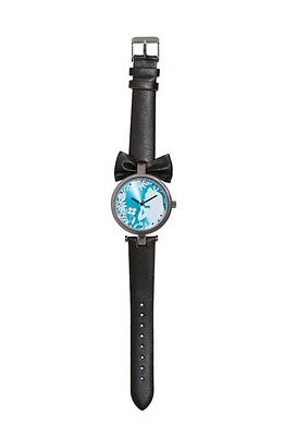 Disney Alice In Wonderland Bow Silhouette Faux Leather Strap Watch Rare NIT