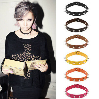 Fashion Spike Chic Choker Stud Collar Punk Necklace Silver Rivet Leather