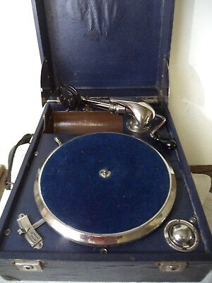 ANCIEN GRAMOPHONE PHONOGRAPHE , valise, disque 78 tours FRENCH ANTIQUE