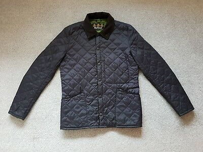 Barbour Mens HELVELYN Navy Blue Diamond Quilted Jacket - Size M