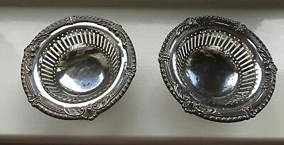 Pair of Vintage/Old Silver on Copper Bon Bon Dishes