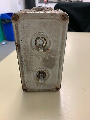 """Vintage Industrial Switch 2 Gang cast Iron switch Precision Casting By """"BUNTING"""""""