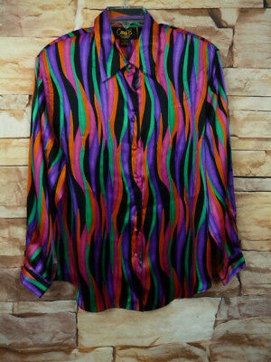 Rare Vintage Corey B Womens Blouse 100% Silk Multi Color Stripe Size 1X  E-116