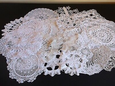 Job Lot 22 Vintage Hand Crochet And Lace Doilies/centres Craft/cutting/repair