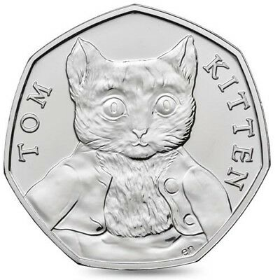 Uncirculated Rare Beatrix Potter Tom Kitten 50p Coin (From a sealed bag)