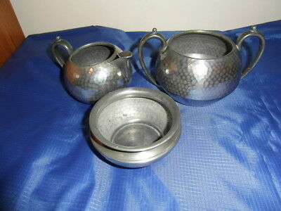 Art Deco Style Hand Hammered Pewter  Sugar Bowl, Milk Jug, And Slop Bowl