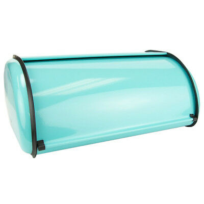 Home Basics Stainless Steel Roll Top Bread Box Food Storage Container Turquiose
