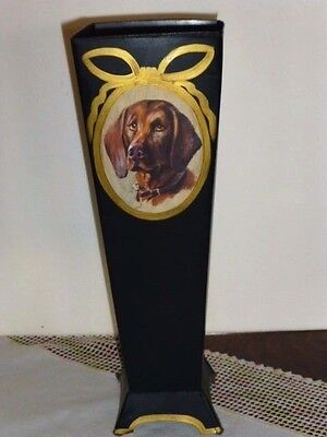"""Vizsla 14 3/4""""h. Antiqued Hand Painted Metal Container, Made in the U.S.A."""