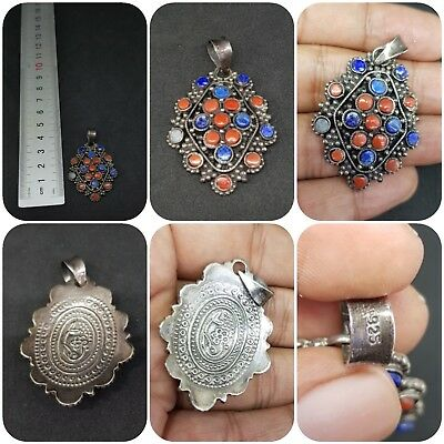 Vintage sterling silver 925 lapis and coral pendant