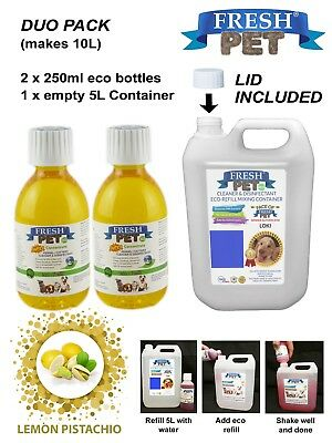 Pet Disinfectant Duo Stain & Odour Removal 2 x 250ml eco LEMON P with empty 5L