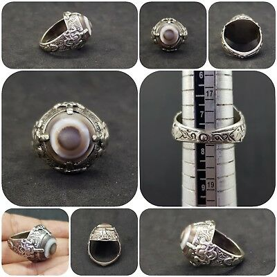 Roman Ancient Solid Silver Wonderful Ring With Banded Eye Agate #12Q