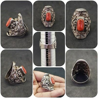 Ancient Solid Silver Natural Coral Stone Beautiful Rare Ring #50