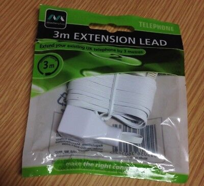 Masterplug  Telephone EXTENSION LEAD CABLE - 3 meters - NEW in SEALED BAG