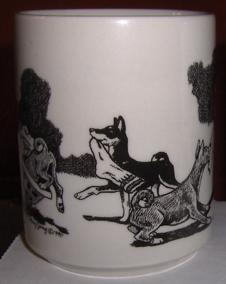 BASENJI MUG Adorable Puppies Playing in the Laundry by The CACHE Vintage