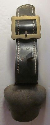 Vintage Antique Large Metal Brass Cow Bell with Leather Strap