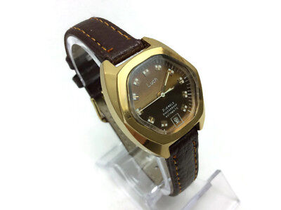 Soviet Gold Plated AU Ladies Automatic Watch LUCH Ray Unusual Rare Fancy Glass