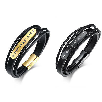 Personalized Mens Women Multilayer Braided Leather Stainless Steel Bracelet Cuff