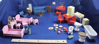 Vintage Dollhouse Miniature Furniture Strombecker Wood Ceramic Toys Plus More