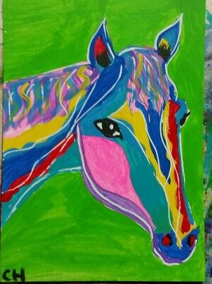 ACEO ABSTRACT HORSE #1 ORIGINAL ART US  SIGNED ACRYLIC  2000-now