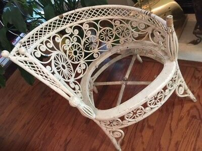 Very Unusual Vintage Victorian Style White Wicker Chair