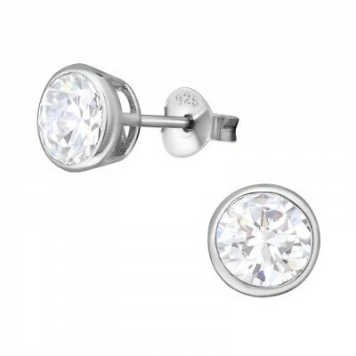 925 Sterling Silver Crystal Cubic Zirconia Circle Stud Earrings (Design 6)