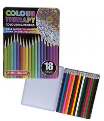 INTENSE COLOUR SATURATION Pack Of 18 Adult Colouring Pencils In Storage Case Set