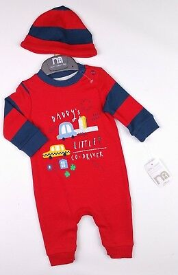 Baby Boys Clothes MOTHERCARE Car Romper & Hat Outfit 1 Month 10lbs Newborn BNWT