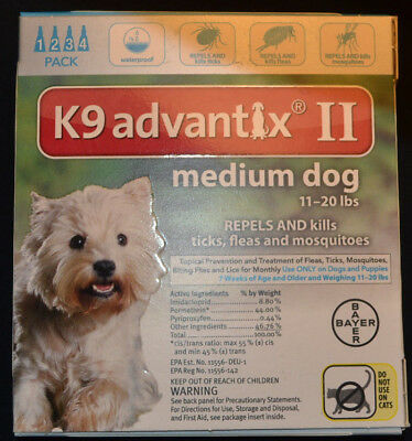 K9 Advantix II For Medium Dogs 11-20 lbs. 4 Month Supply, Four Doses, 4 Pack