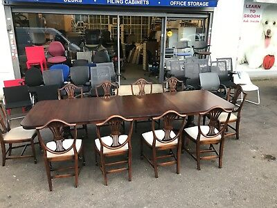 Large Extendable Mahogany Regency Style Dining Table + Rackstraw Regency Chairs