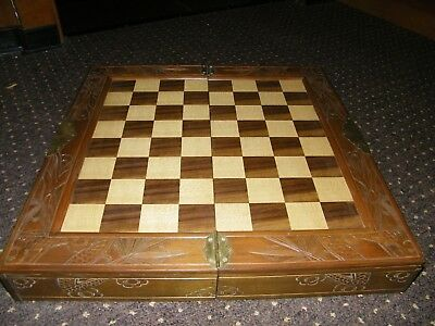 Schach Schachbrett Holz 45x45cm Schachfiguren China Schublade Chess Wood Chinese