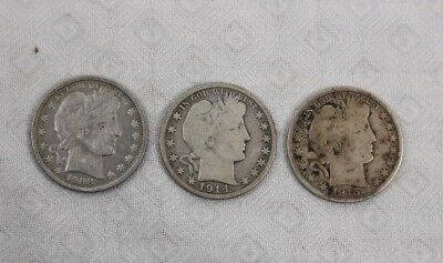 Barber Silver Half Dollars Lot of 3 Coins Circulated Condition