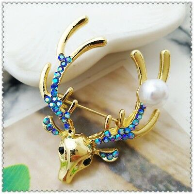 Fashion ornaments Crystal deer brooch able enamel color crystal charm ZZ183