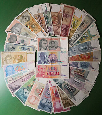 Yugoslavia lot 29 banknotes 1968-1994. All different. VF.