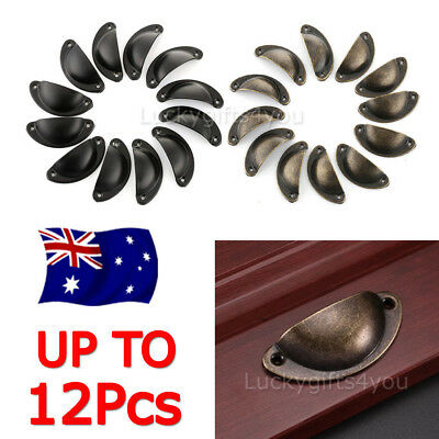 12pcs Iron Cupboard Cabinet Cup Drawer Furniture Retro Shell Pull Handle + Screw