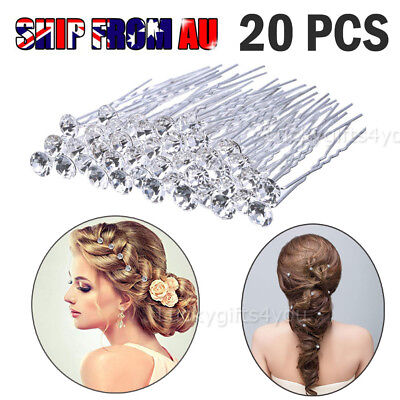 20 Pcs Crystal Diamante Wedding Bridal Party Clear Hair Pins Accessories New