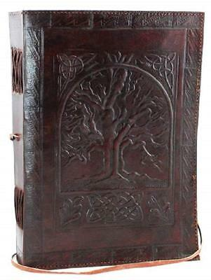 Leather Bound Paper Blank Men Women Journal Notebook Diary Tree of Life 7x10 New