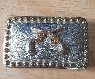 """Vintage Double Pistols Belt Buckle Good And Silver Toned 3 1/2"""" x 2"""""""
