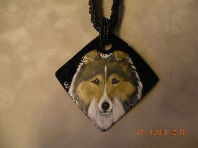 Sheltie, Shetland Sheepdog, Collie Hand Painted Necklace Ceramic with beads NEW