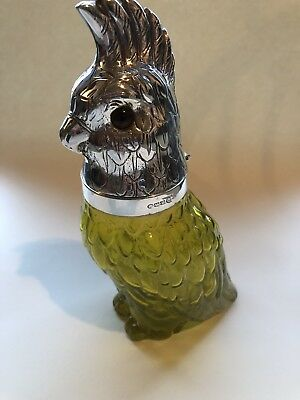 Silver Plate And Yellow Glass Parrot Decanter