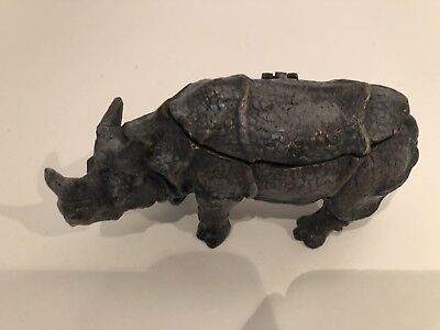 Cold Painted  Rhino Figured Bronze Double Inkwell
