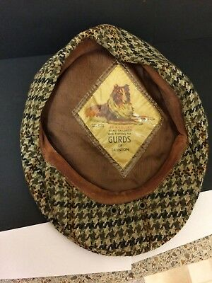 Vintage Colley Flat Cap made for Gurds of Taunton, size small, tweed check.