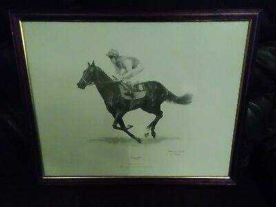 "large ..framed ..drawing print ..dancing brave ..pat eddery ...22""x 16 inches ."