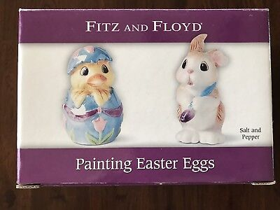 Fitz And Floyd Easter Painting Eggs Salt And Pepper EXCELLENT still in box