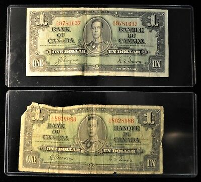 (2) 1937 Bank Of Canada $1 Notes. ITEM B1