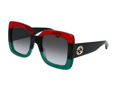 New Authentic GUCCIGlittered Gradient Oversized Square Sunglasses, Red/Blk/Grn