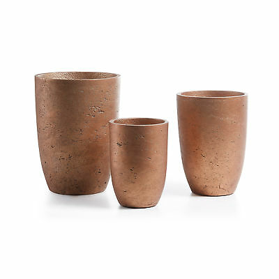 Kave Home Set de 3 maceteros Low, cobre