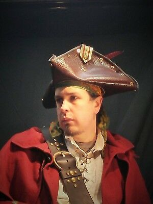 Captain tricorn  leather hat pirate feather costume cosplay reenactment cosplay