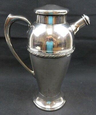 Silver plated Art Deco Acanthus EPNS cocktail shaker Mid Century Modern