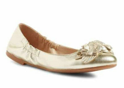 30e279cd56d NIB TORY BURCH Blossom Floral Spark Gold Leather Logo Ballet Flat Shoes Size  6.5